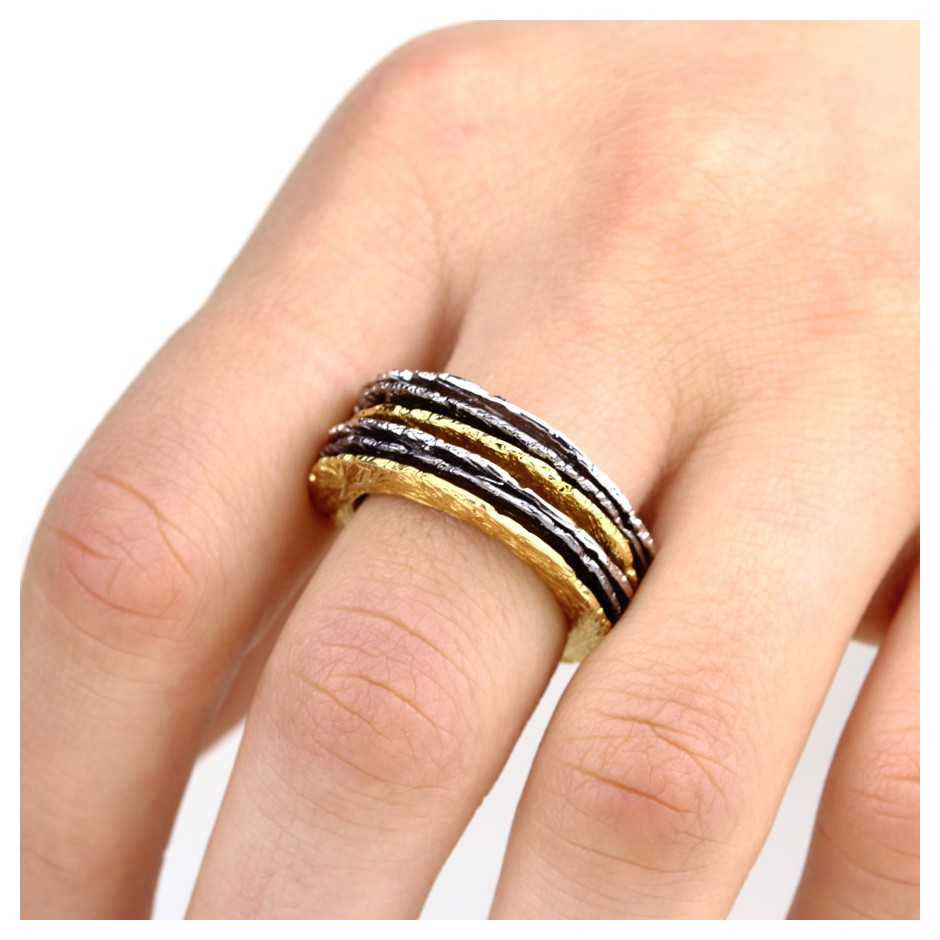Barbara Uderzo 27L - Set of rings - Ottoni - Brass, galvanic finish in yellow gold, white or black rhodium.
