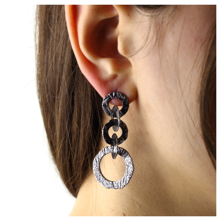 Barbara Uderzo 28D - Earrings - Ottone - Brass with galvanic finish in white or black rhodium