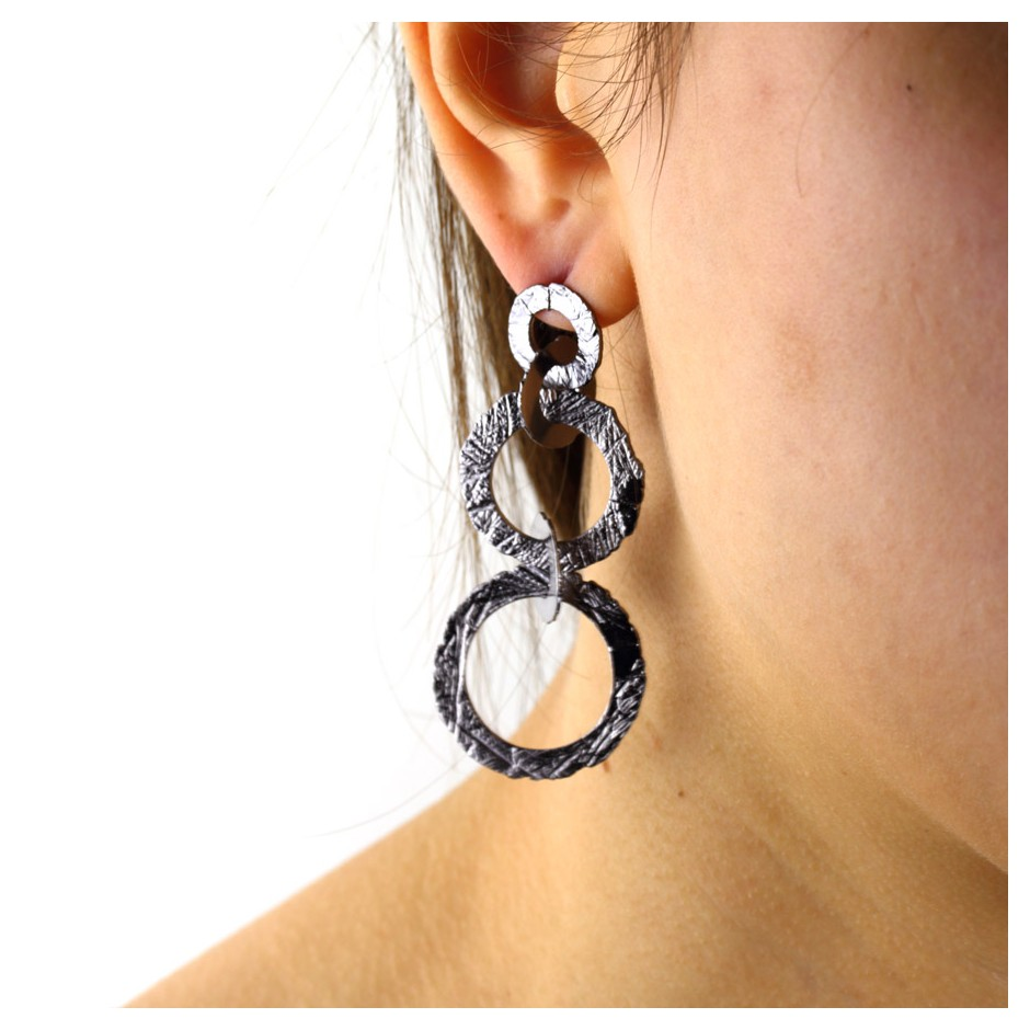Barbara Uderzo 29D - Earrings - Ottone - Brass with galvanic finish in white or black rhodium