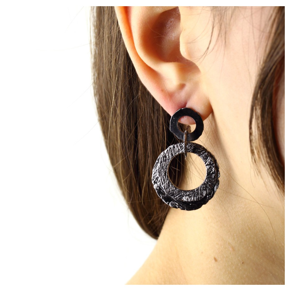 Barbara Uderzo 30C - Earrings - Ottone - Brass with galvanic finish in white or black rhodium