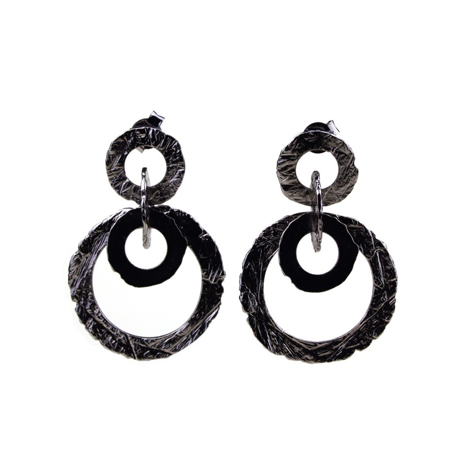Barbara Uderzo 31A - Earrings - Ottone - Brass with galvanic finish in white or black rhodium