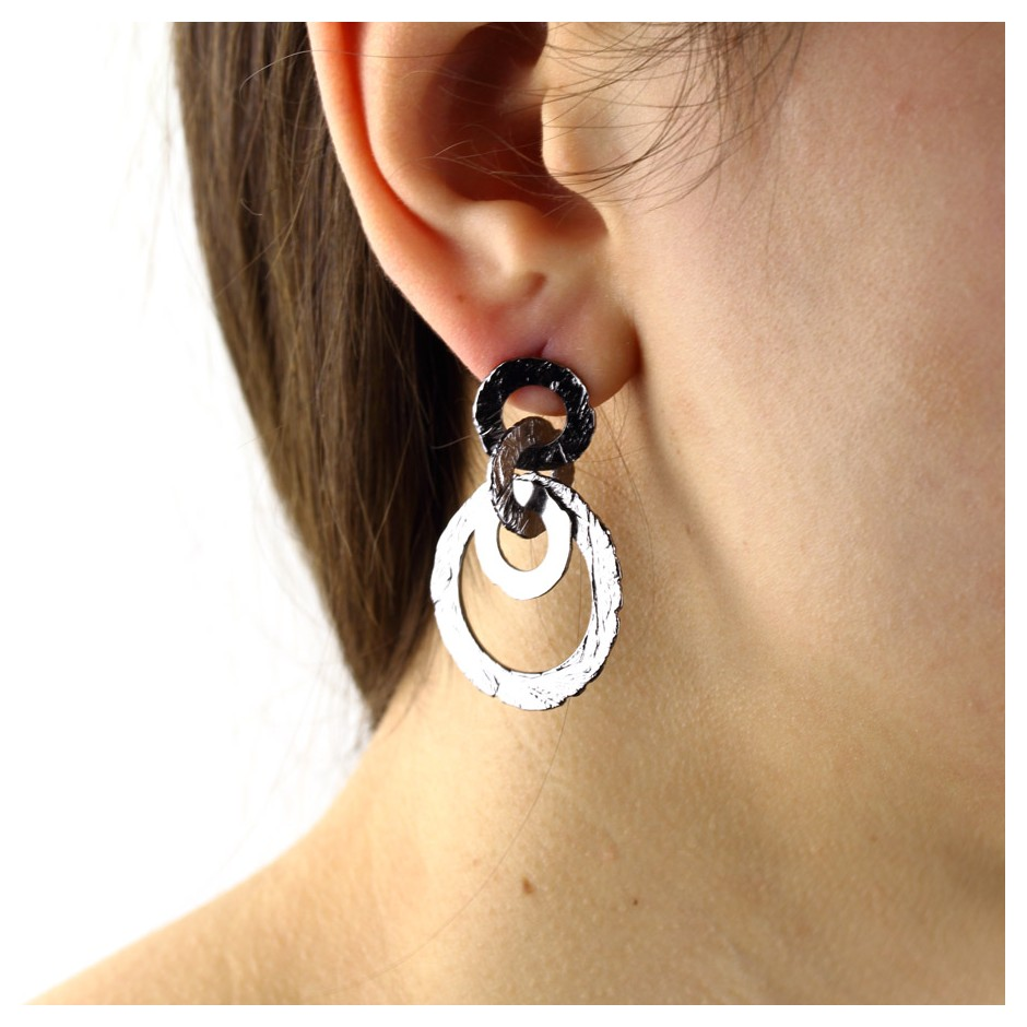 Barbara Uderzo 31C - Earrings - Ottone - Brass with galvanic finish in white or black rhodium
