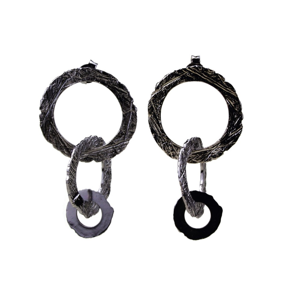 Barbara Uderzo 32A - Earrings - Ottone - Brass with galvanic finish in white or black rhodium