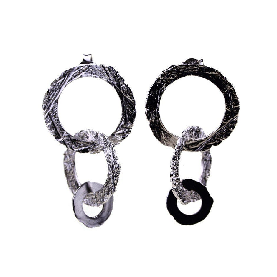 Barbara Uderzo 32C - Earrings - Ottone - Brass with galvanic finish in white or black rhodium