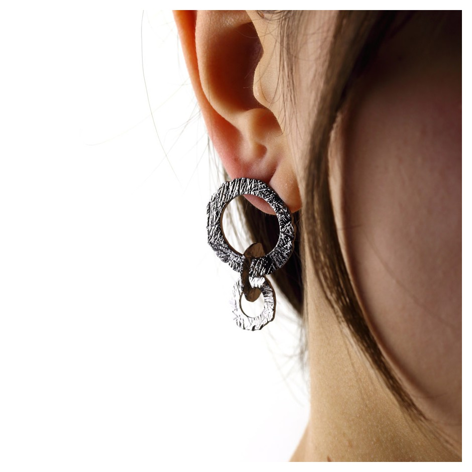 Barbara Uderzo 33C - Earrings - Ottone - Brass with galvanic finish in white or black rhodium