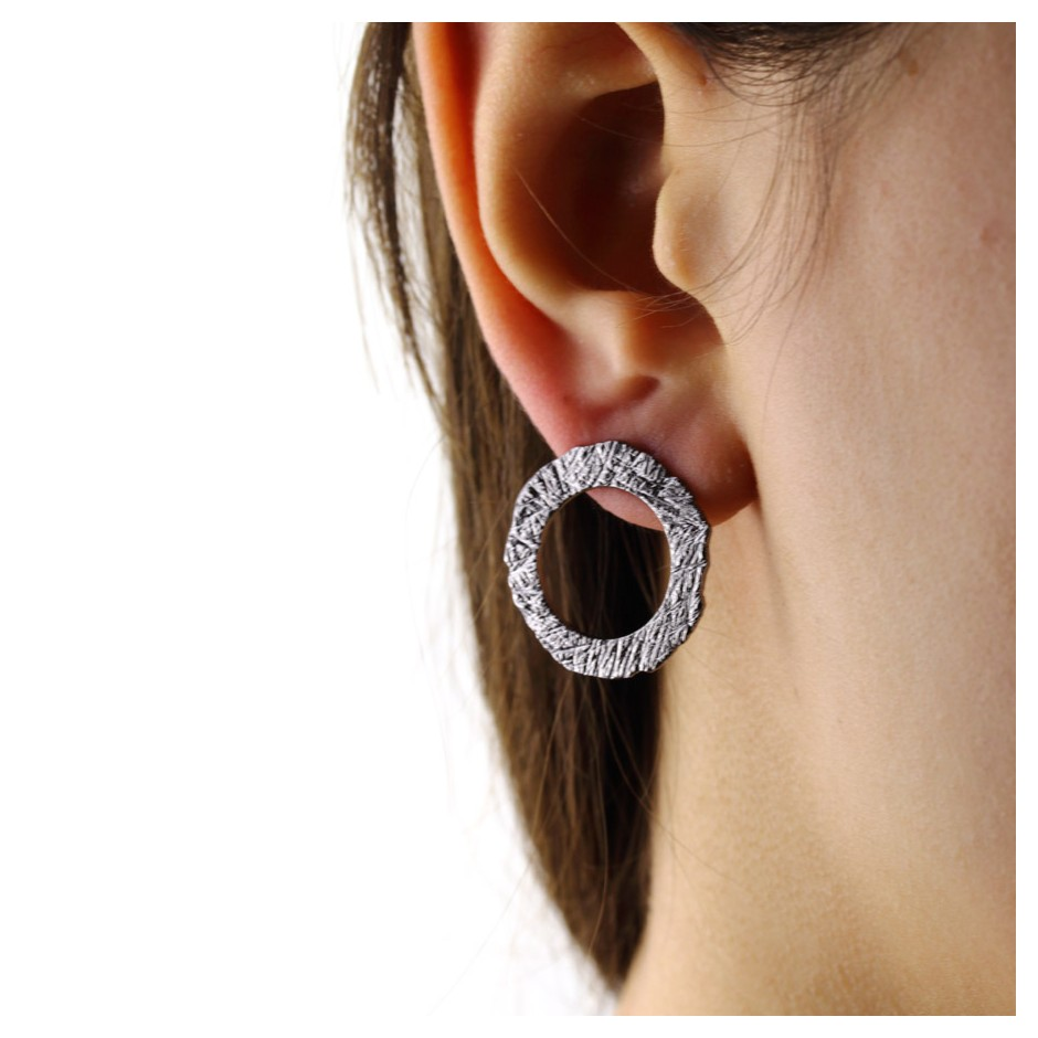 Barbara Uderzo 35D - Earrings - Ottone - Brass with galvanic finish in white or black rhodium