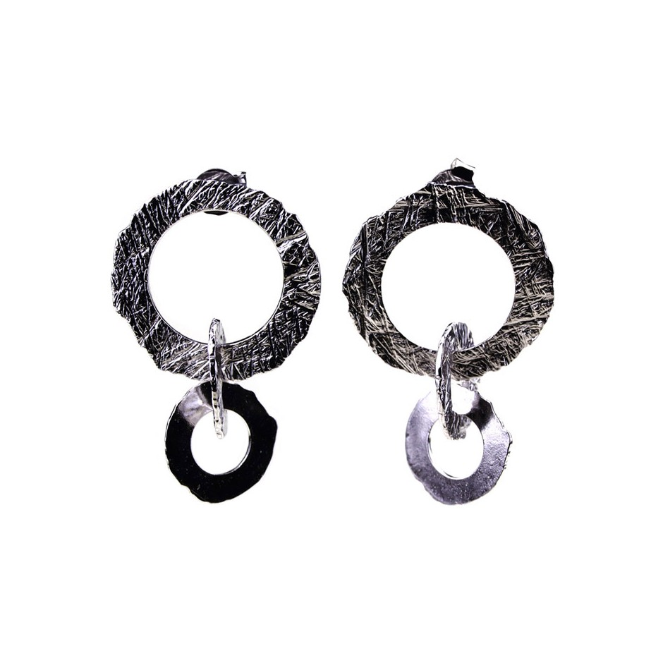 Barbara Uderzo 33B - Earrings - Ottone - Brass with galvanic finish in white or black rhodium
