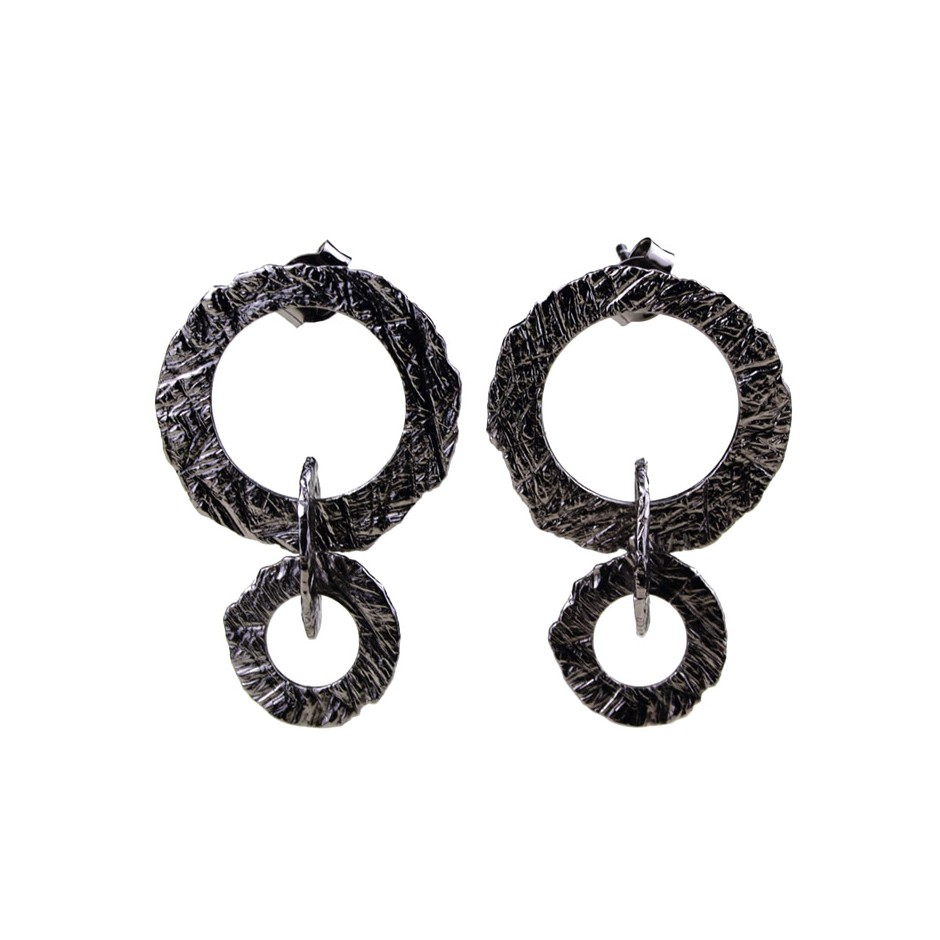 Barbara Uderzo 33A - Earrings - Ottone - Brass with galvanic finish in white or black rhodium