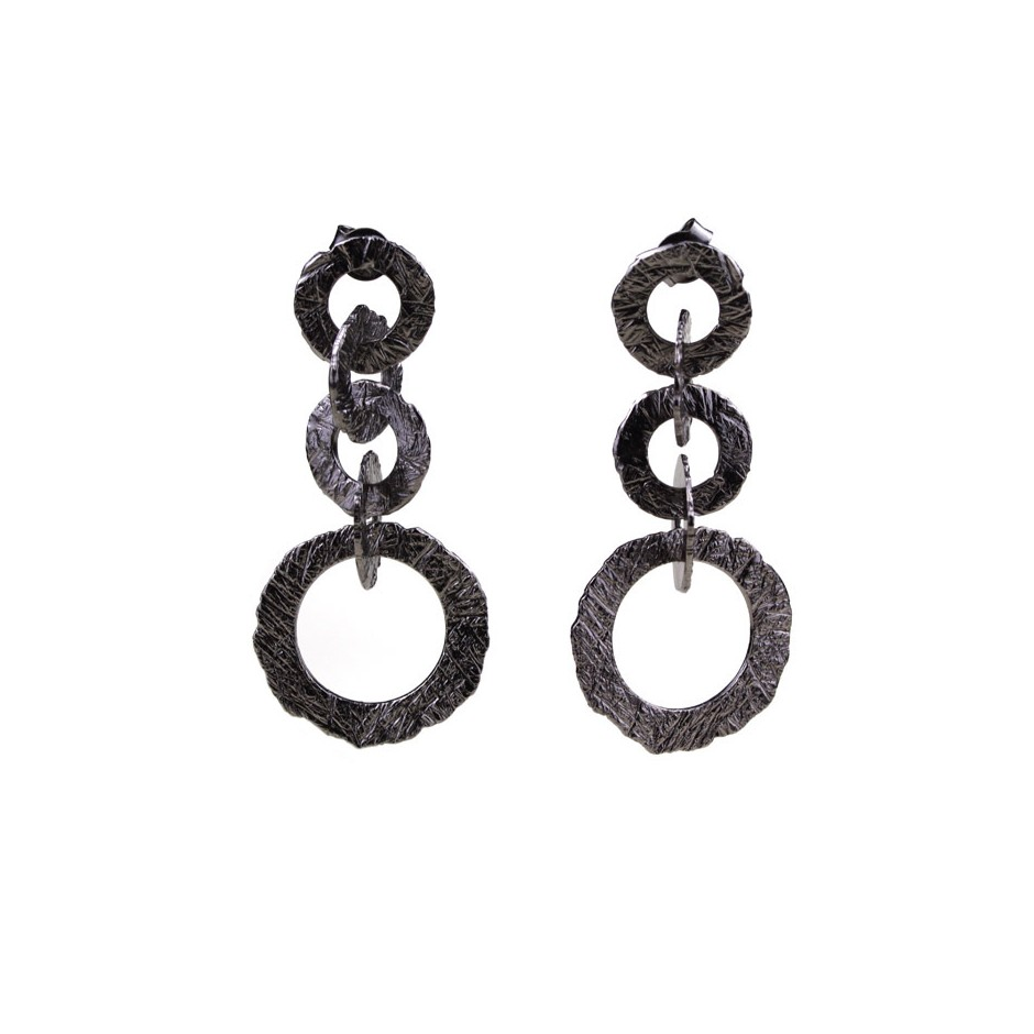Barbara Uderzo 28A - Earrings - Ottone - Brass with galvanic finish in white or black rhodium