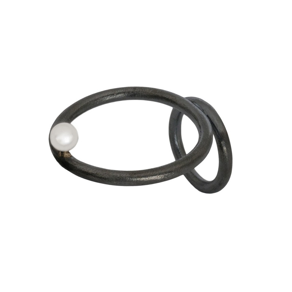 Laura Forte 03A - Ring - Double - Oxidized silver and pearl