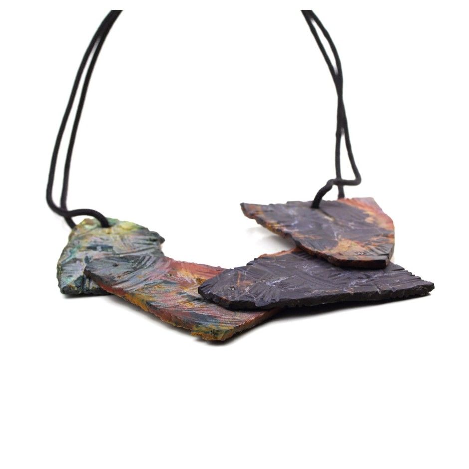 Deborah Rudolph 13C - Necklace composed of movable rainbow jasper slices, oxidized silver and climbing rope