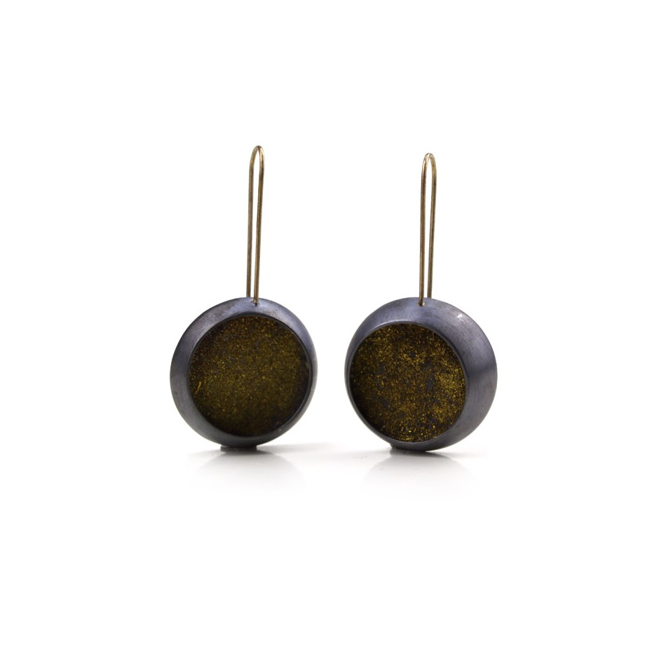Elisabetta Dupré 48A - Earrings made of oxidized silver and gold