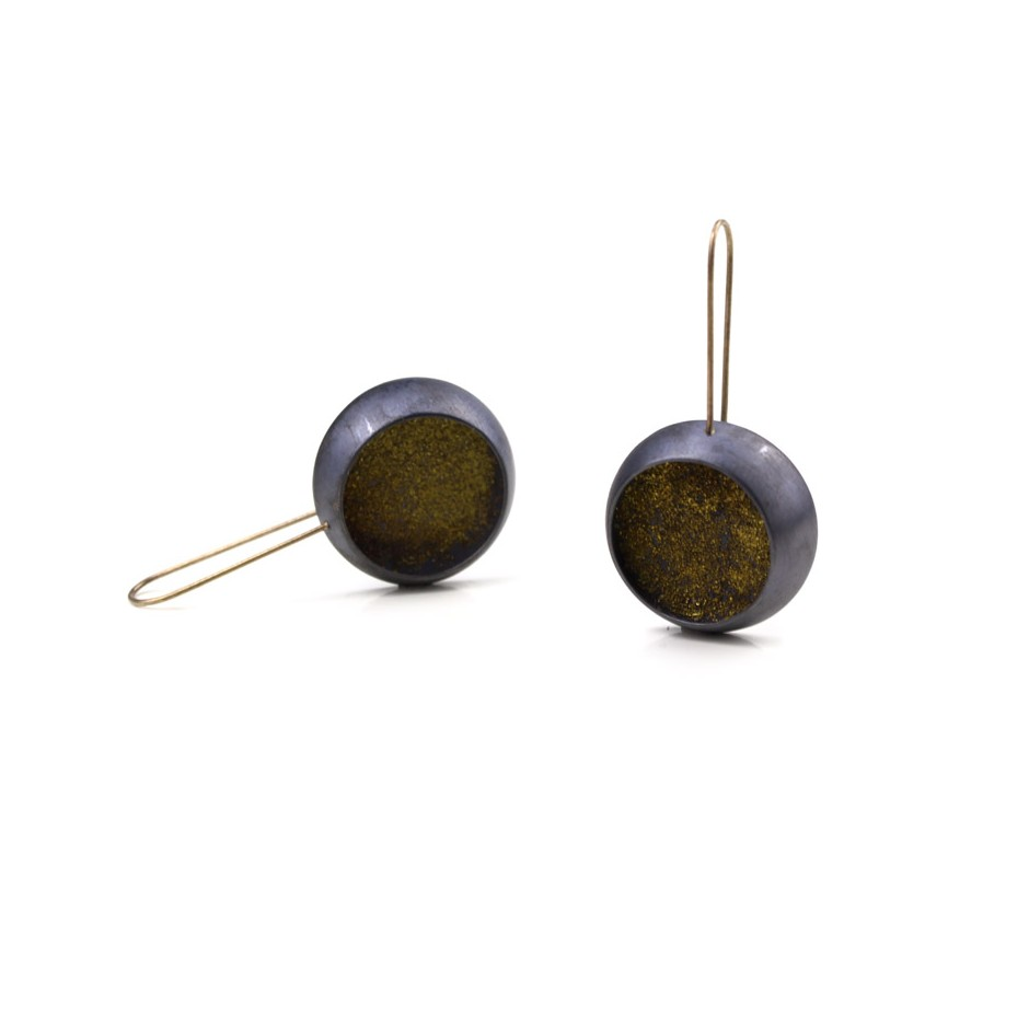Elisabetta Dupré 48B - Earrings made of oxidized silver and gold