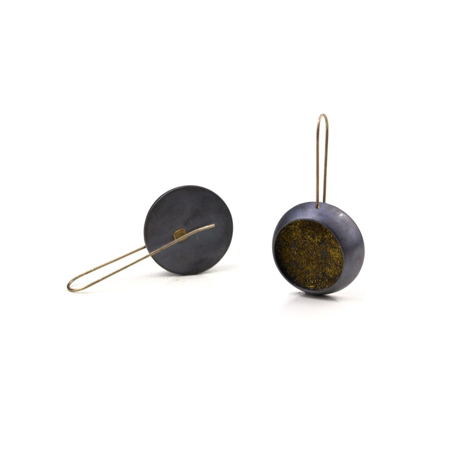 Elisabetta Dupré 48C - Earrings made of oxidized silver and gold