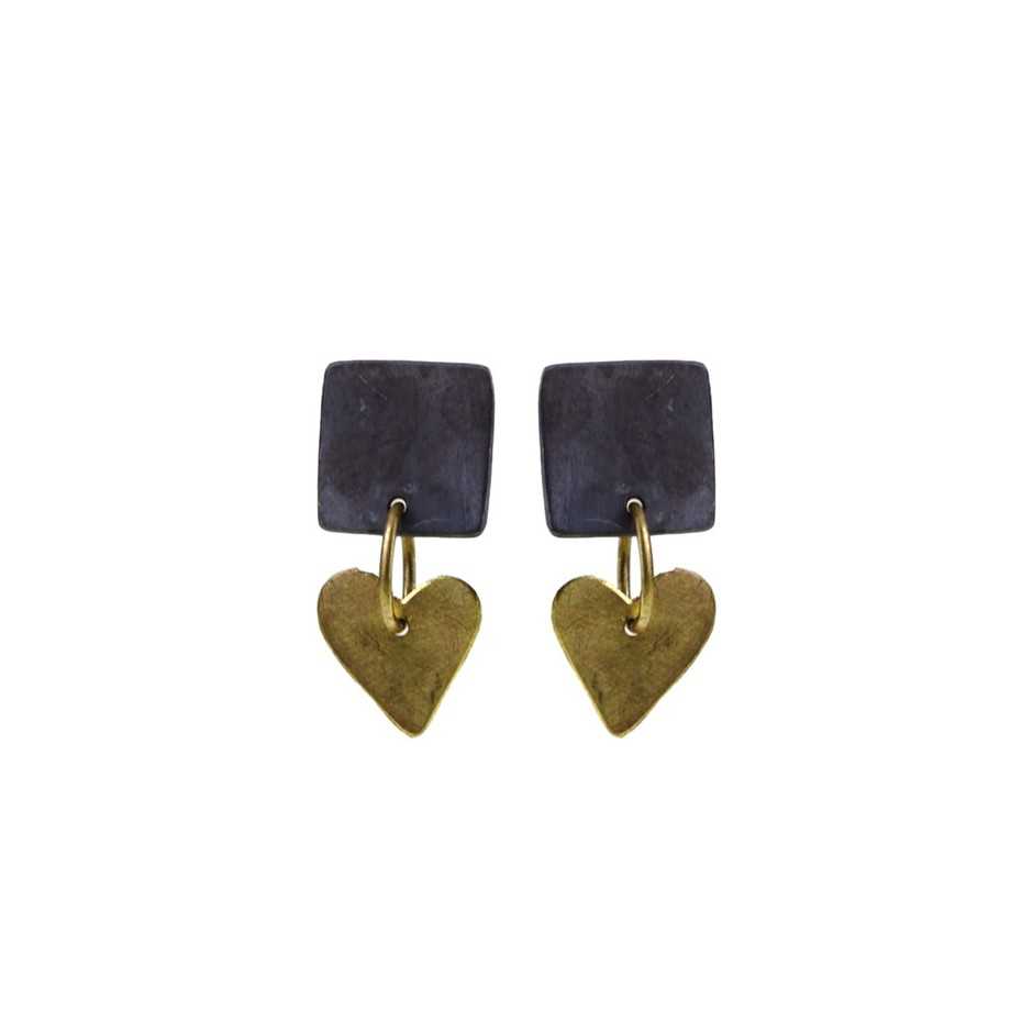 Elisabetta Dupré 51A - Earrings made of oxidized silver and gold