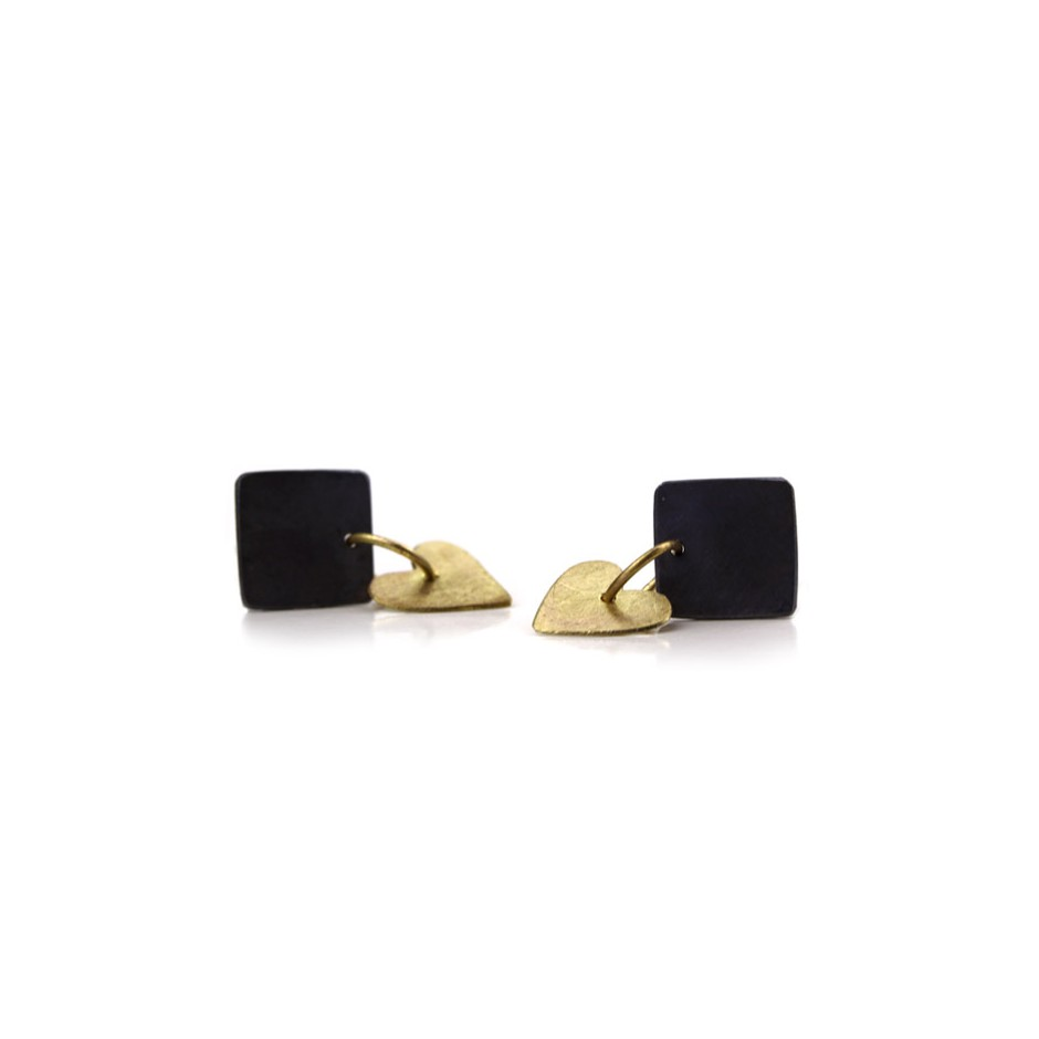 Elisabetta Dupré 51B - Earrings made of oxidized silver and gold