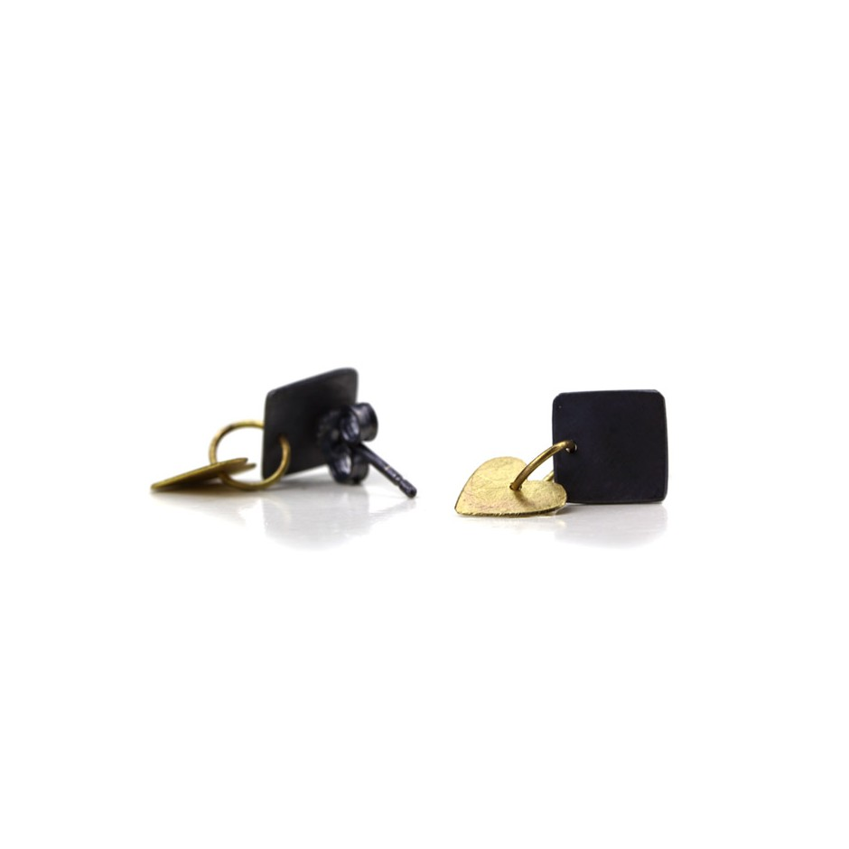 Elisabetta Dupré 51C - Earrings made of oxidized silver and gold