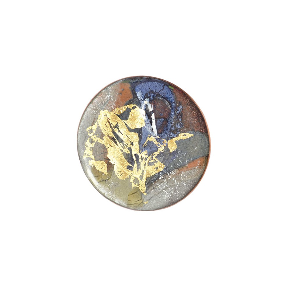 Annamaria Mikulik 01AA - Brooche - Enamel on copper with gold leaf