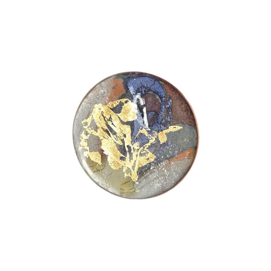 Annamaria Mikulik 01AA - Brooche - Enamel on copper with gold leaf
