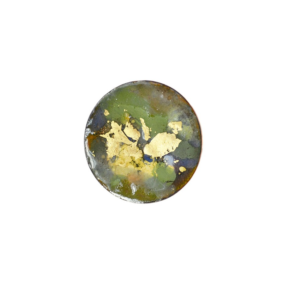 Annamaria Mikulik 02AA - Brooch - Enamel on copper with 24 ct gold leaf
