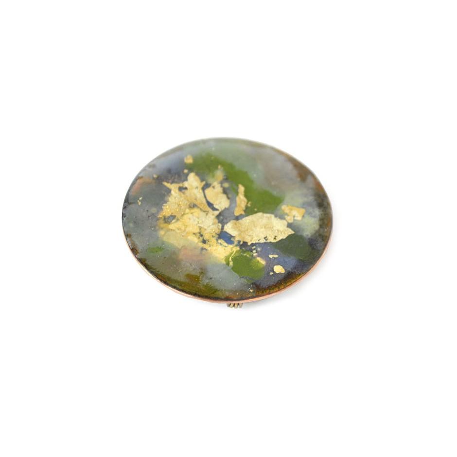 Annamaria Mikulik 02BB - Brooch - Enamel on copper with 24 ct gold leaf