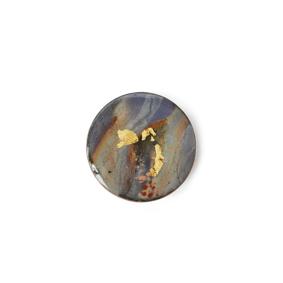 Annamaria Mikulik 03AA - Brooch - Enamel on copper with 24 ct gold leaf