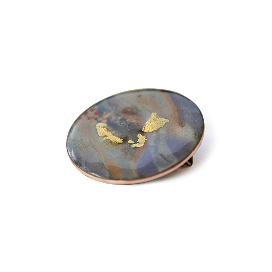 Annamaria Mikulik 03BB - Brooch - Enamel on copper with 24 ct gold leaf