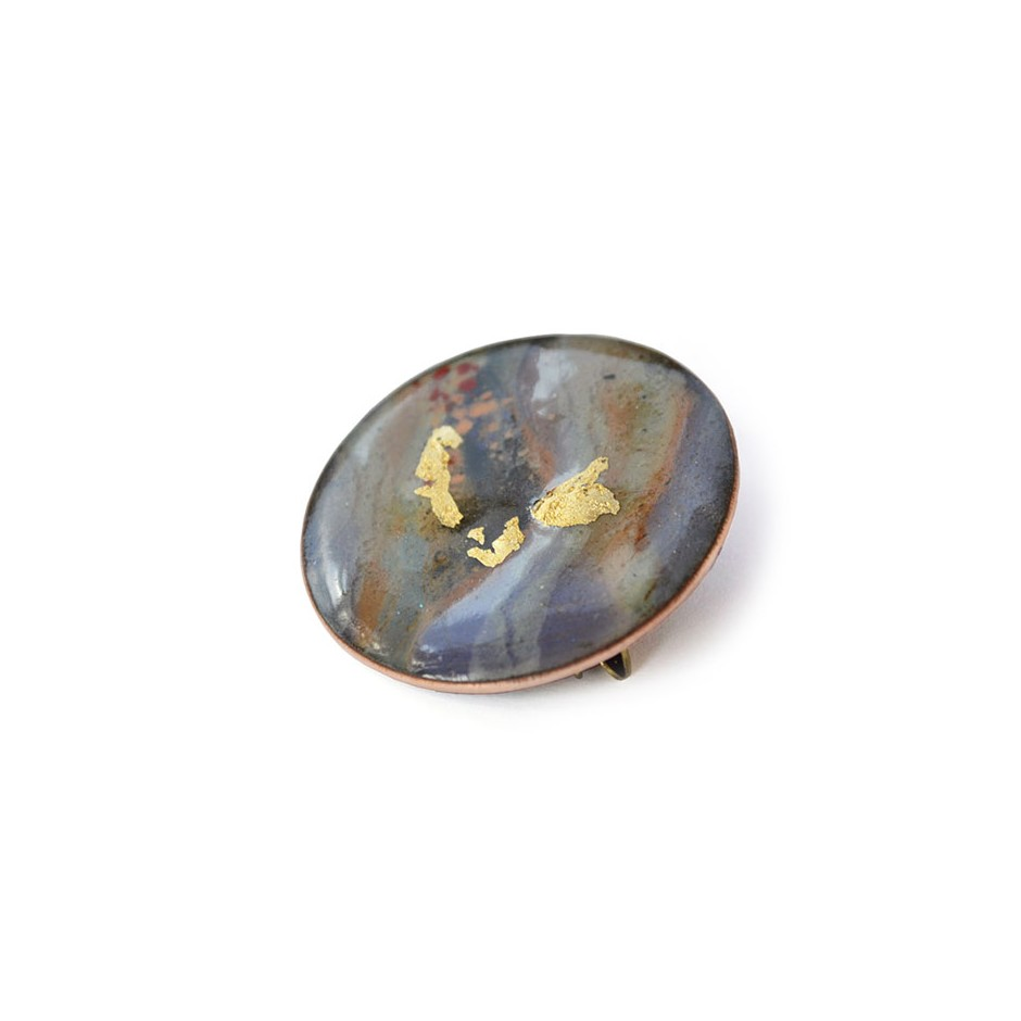Annamaria Mikulik 03CC - Brooch - Enamel on copper with 24 ct gold leaf