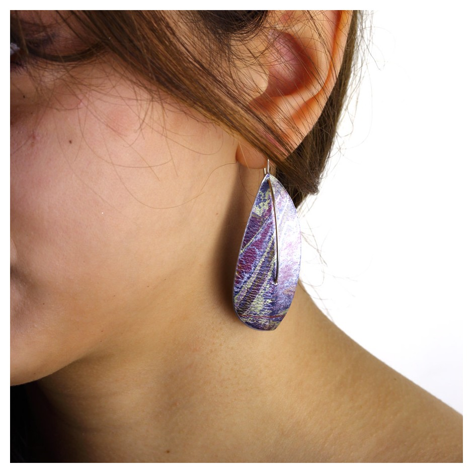 Jane Adam 19D - Earrings - Anodized aluminum and silver