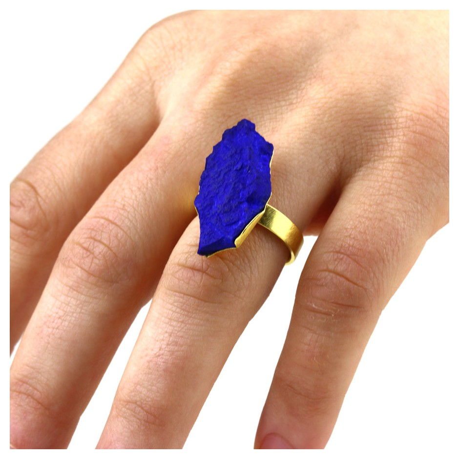 Michael Becker 05EE - Ring - Yellow gold and lapis lazuli