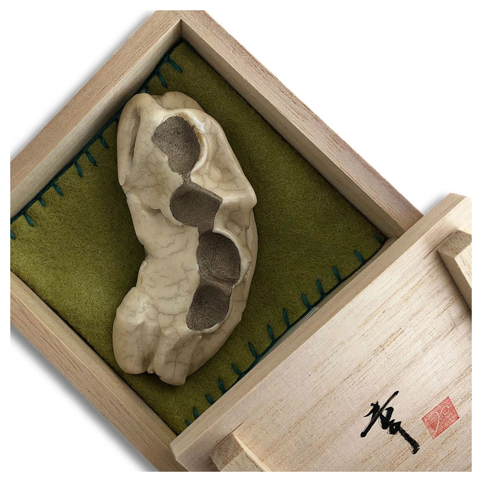 Yukiko Kakimoto 25C - Brooch - Clay, glaze, Urushi, tin powder, silver, stainless