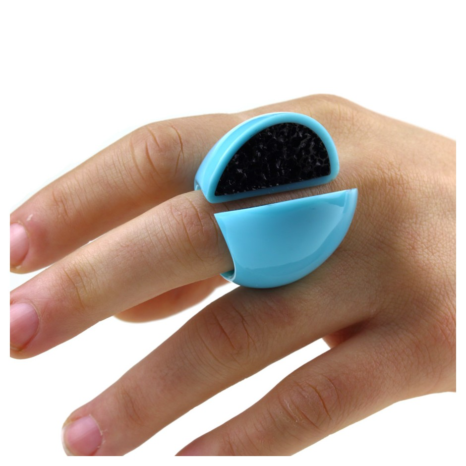 Guido Angeletti 11E - Ring - Light blue and black resin