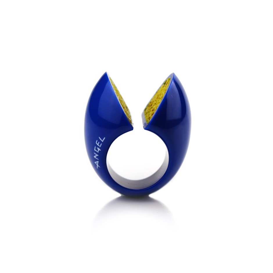 Guido Angeletti 12B - Ring - Blue and yellow resin