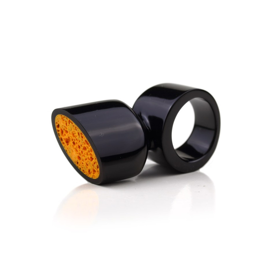 Guido Angeletti 14A - Ring - Black resin with orange resin inserts