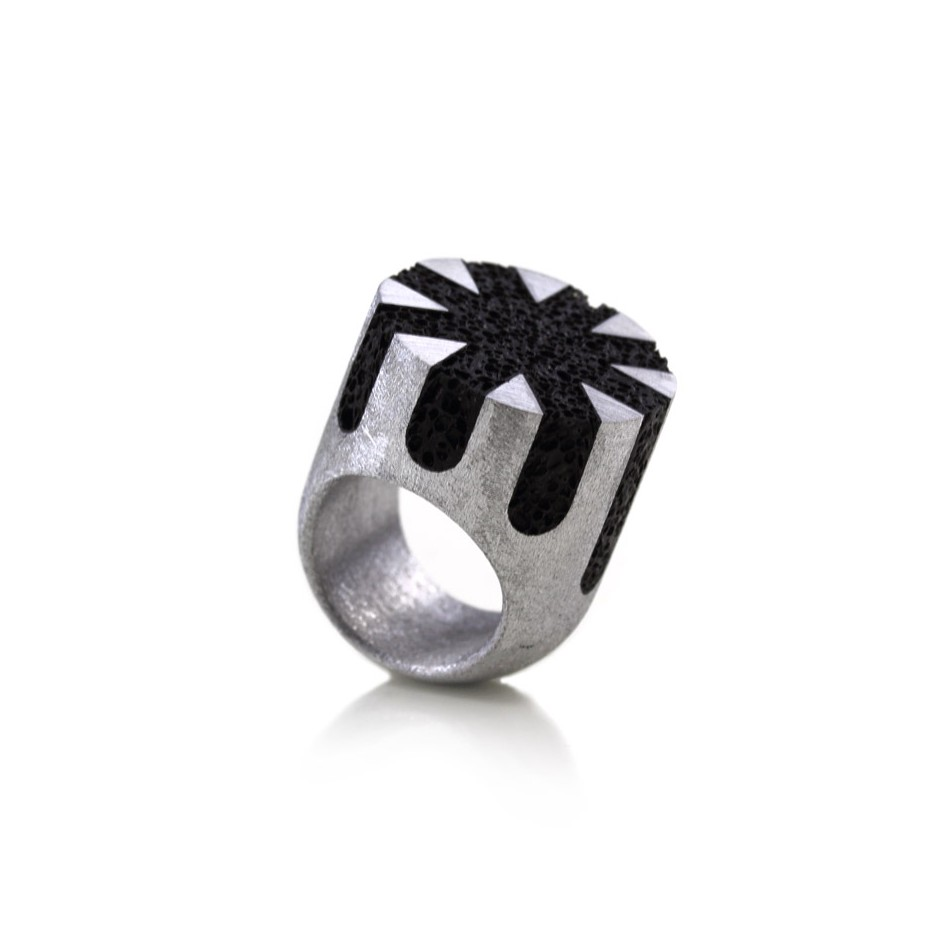 Guido Angeletti 17A - Ring - Aluminum and black resin