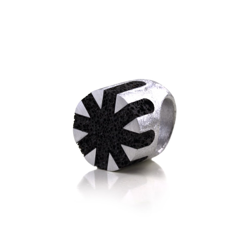 Guido Angeletti 17B - Ring - Aluminum and black resin