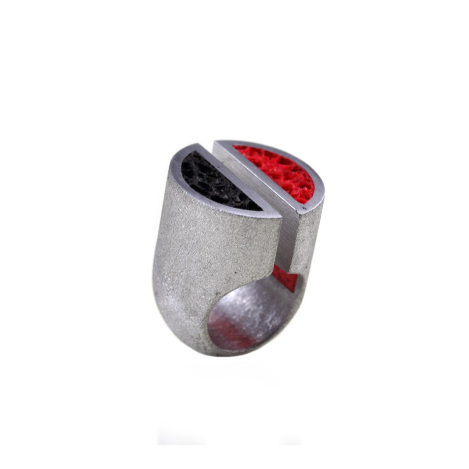 Guido Angeletti 19A - Ring - Aluminum with black and red resin