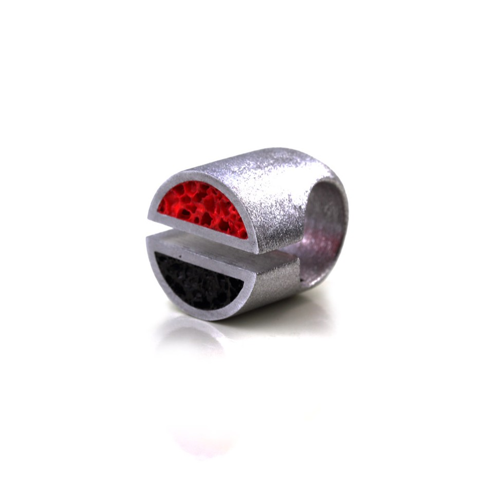 Guido Angeletti 19C - Ring - Aluminum with black and red resin