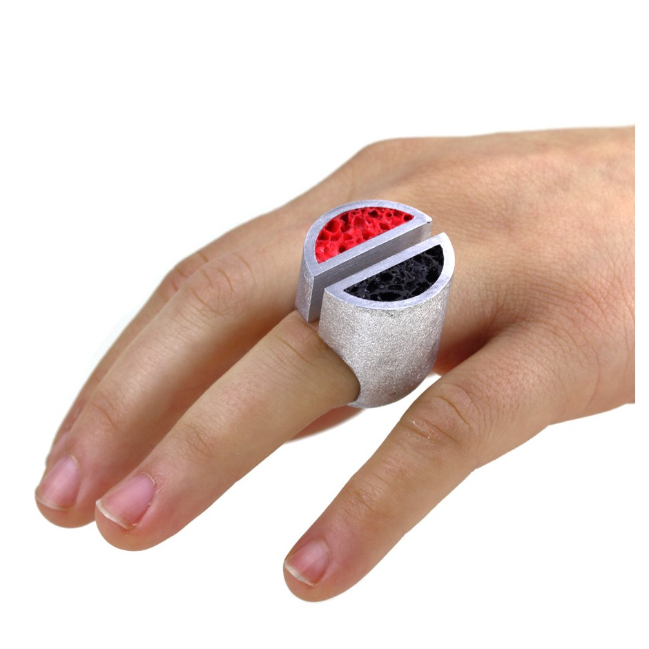 Guido Angeletti 19D - Ring - Aluminum with black and red resin