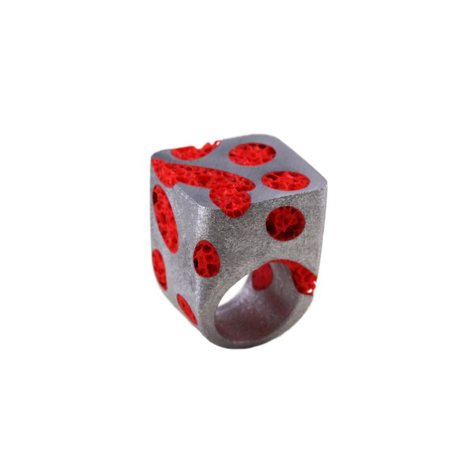 Guido Angeletti 22A - Ring - Aluminum with red resin