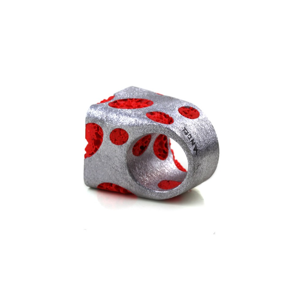 Guido Angeletti 22C - Ring - Aluminum with red resin