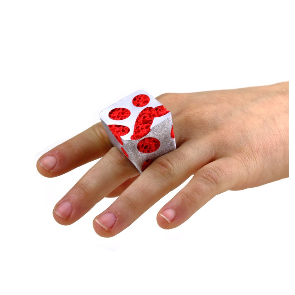 Guido Angeletti 22D - Ring - Aluminum with red resin
