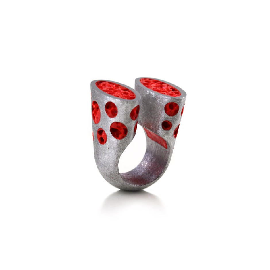 Guido Angeletti 26A - Ring - Aluminum with red resin