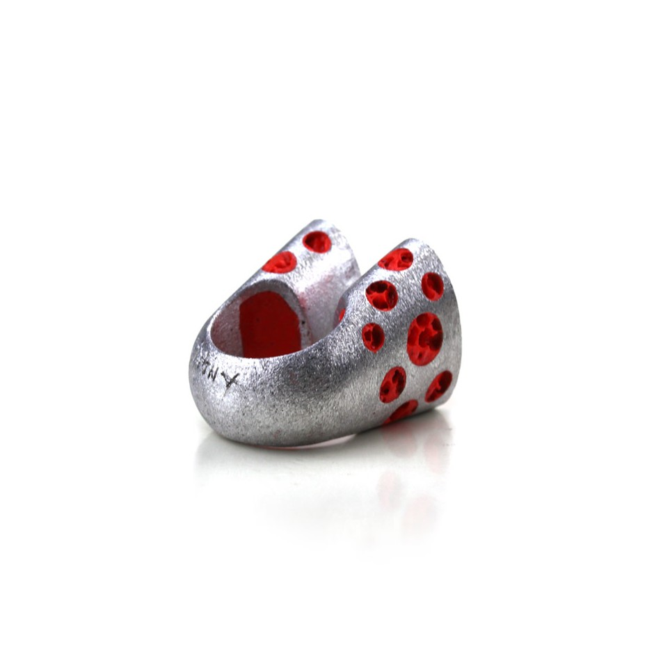 Guido Angeletti 26B - Ring - Aluminum with red resin