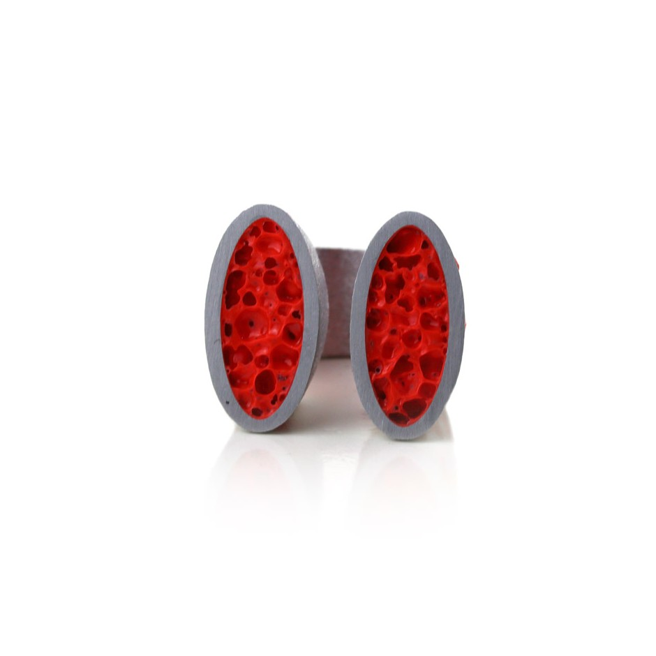 Guido Angeletti 26C - Ring - Aluminum with red resin