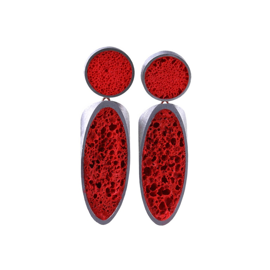 Guido Angeletti 27A - Earrings - Aluminum with red resin
