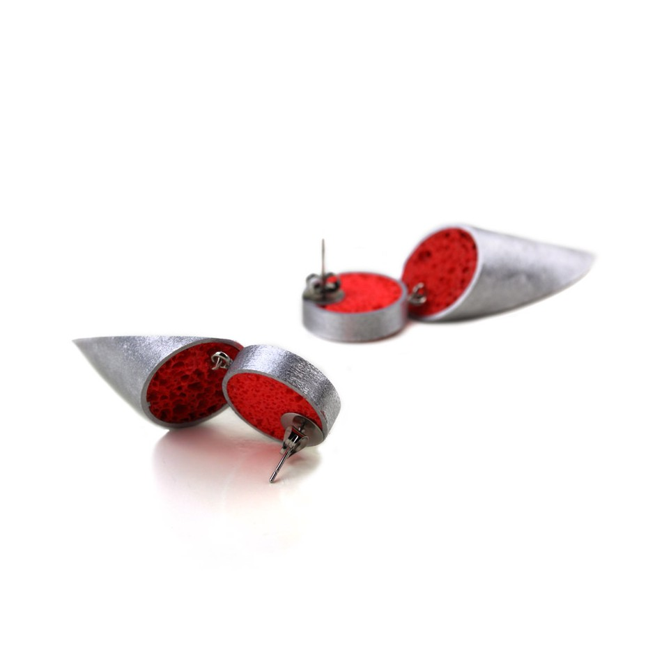 Guido Angeletti 27C - Earrings - Aluminum with red resin