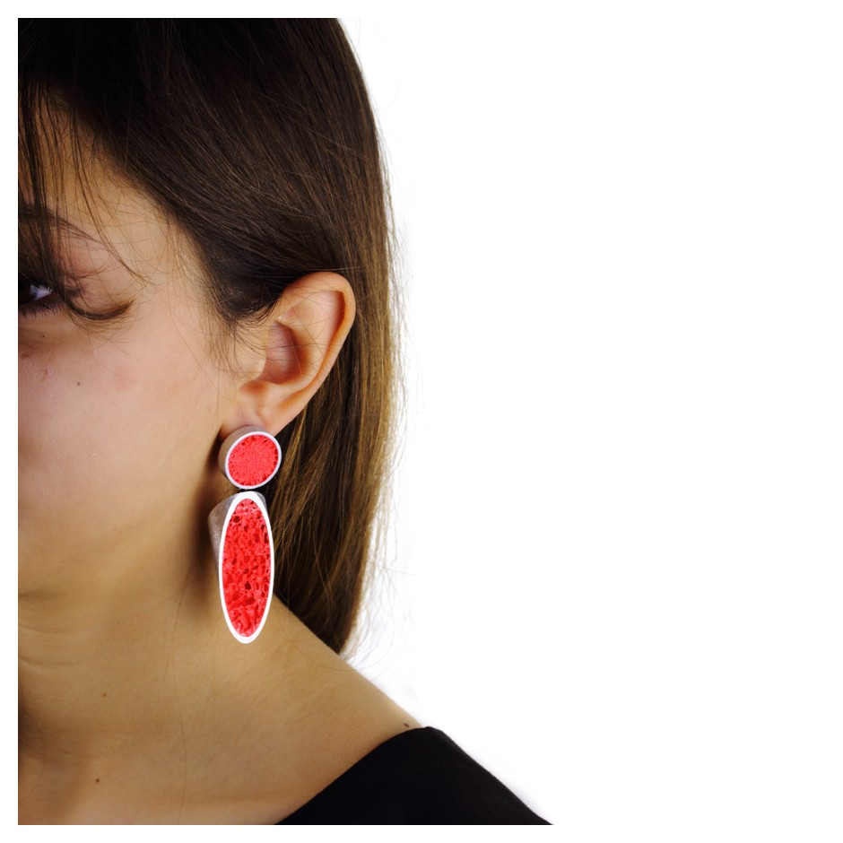 Guido Angeletti 27D - Earrings - Aluminum with red resin