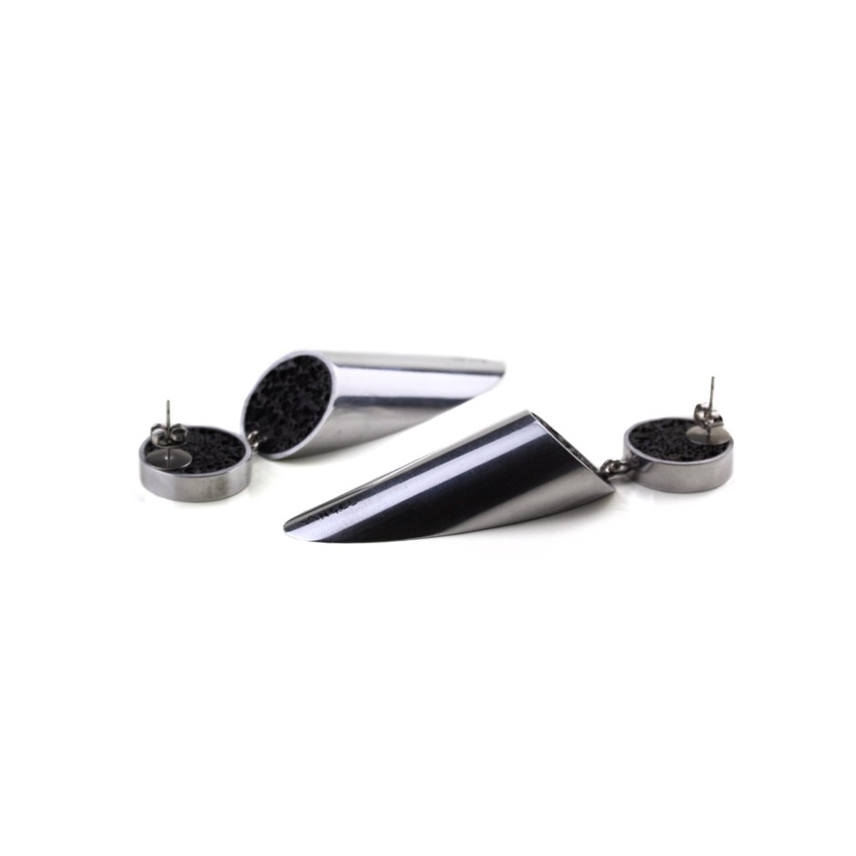 Guido Angeletti 29C - Earrings - Aluminum with black resin
