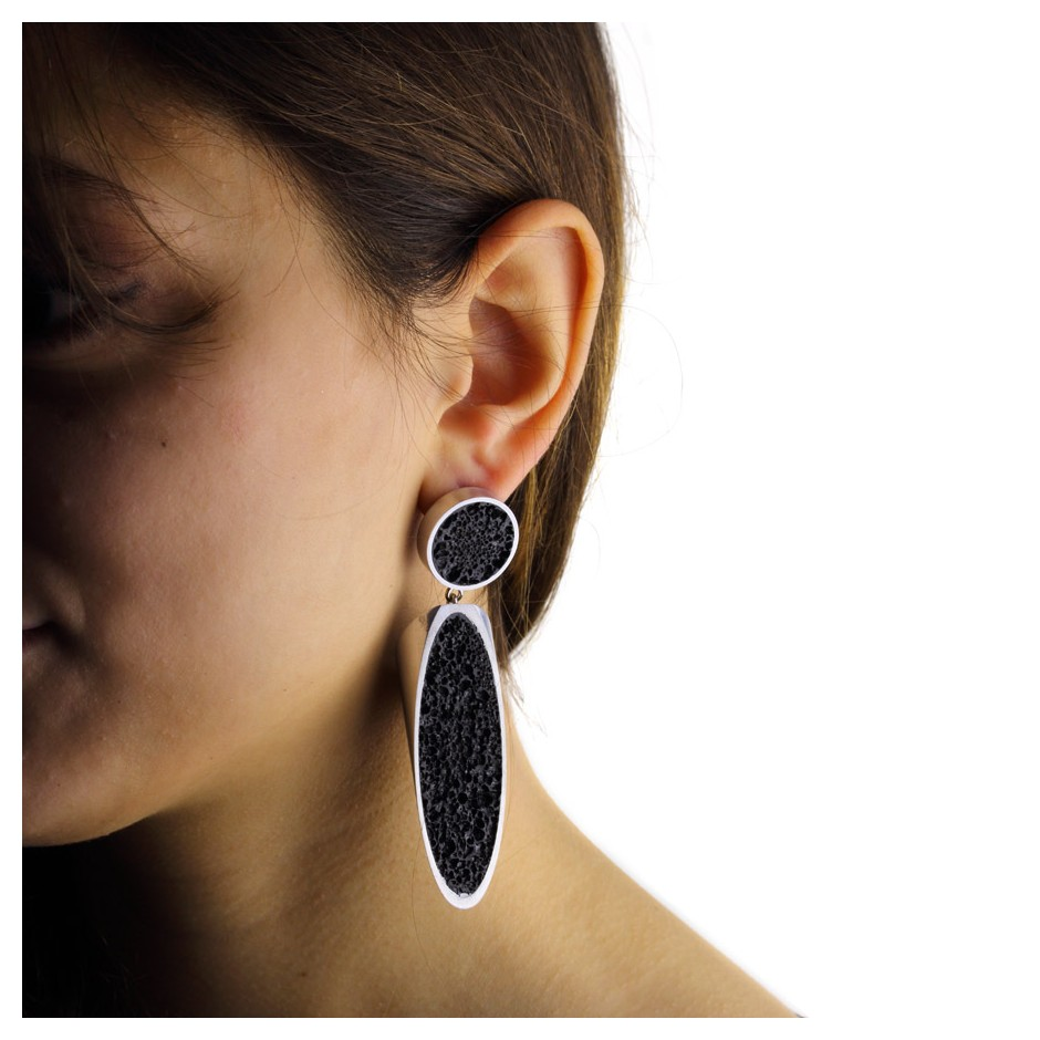 Guido Angeletti 29D - Earrings - Aluminum with black resin